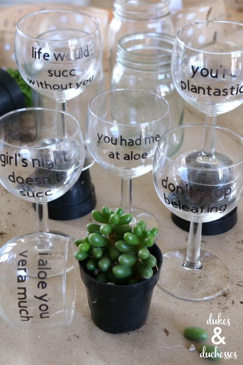 punny glasses for succulent planting girls night party