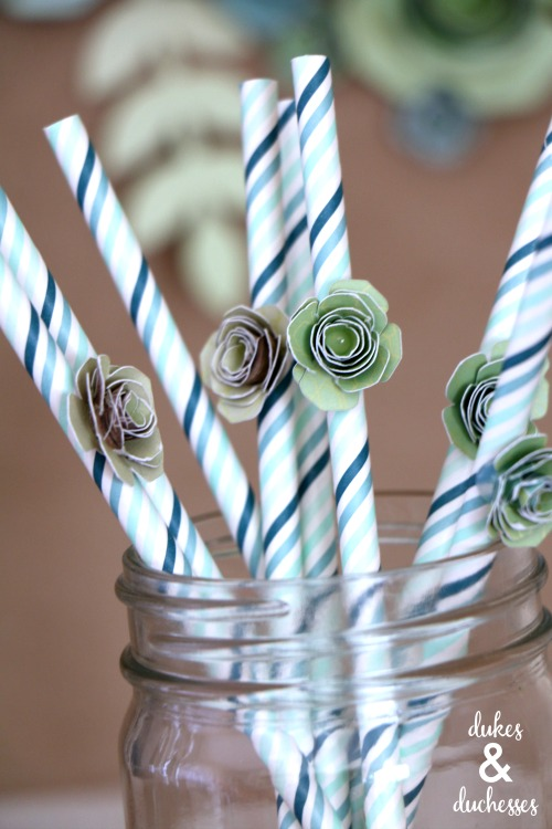 succulent straw toppers for succulent planting party