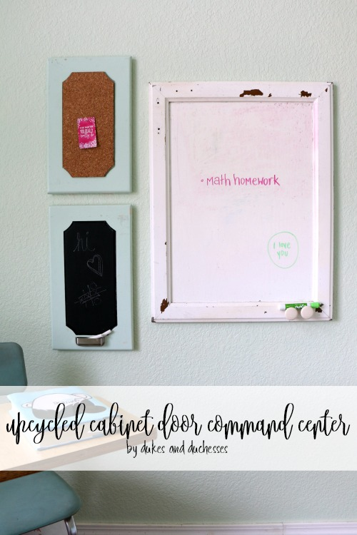 upcycled cabinet door command center