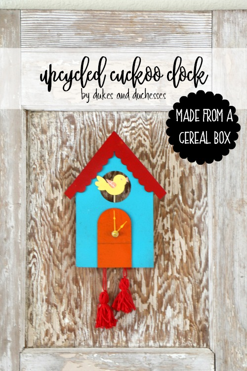 upcycled cuckoo clock made from a cereal box