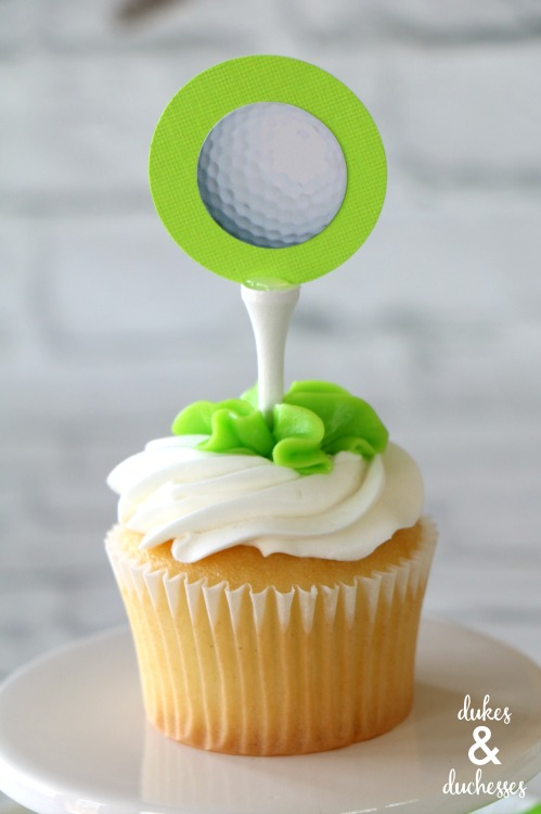 DIY cupcake toppers for a golf party