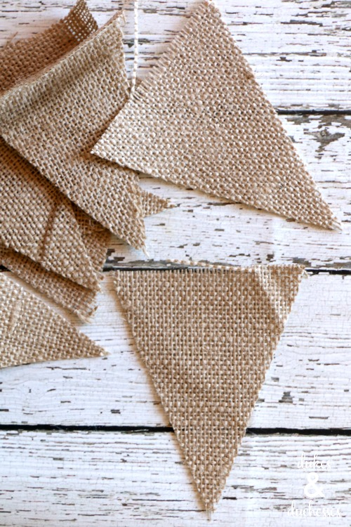 burlap triangles for bunting