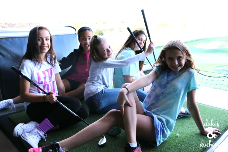 friends at top golf birthday party