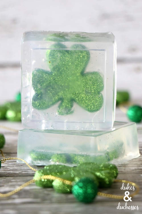 glitter shamrock soap for st patrick's day