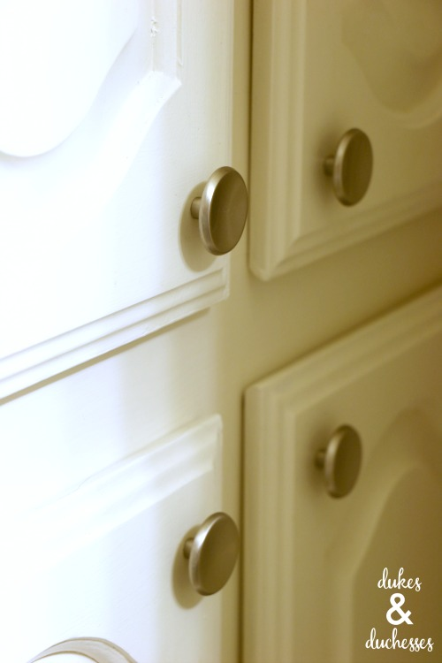 old knobs on bathroom cabinet