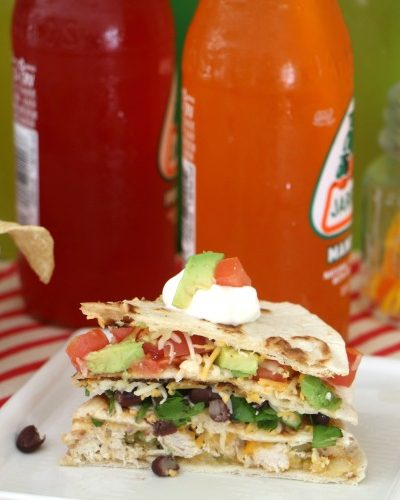 Layered Chicken Black Bean Quesadilla