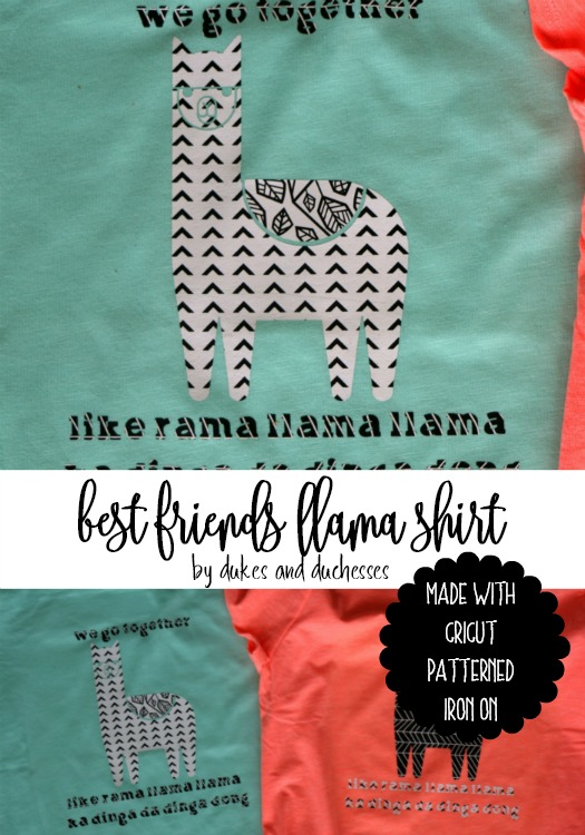 best friends llama shirt made with cricut patterned iron on