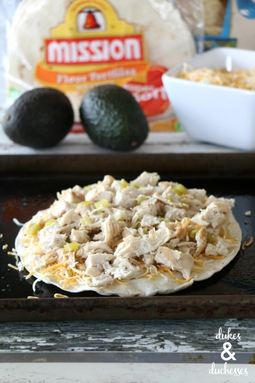 chicken and green chiles on layered quesadilla