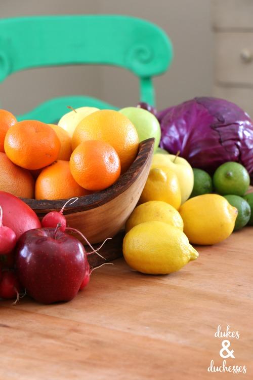 fresh seasonal produce for summer tablescape