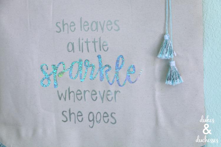 glitter wall art hanging for girls room