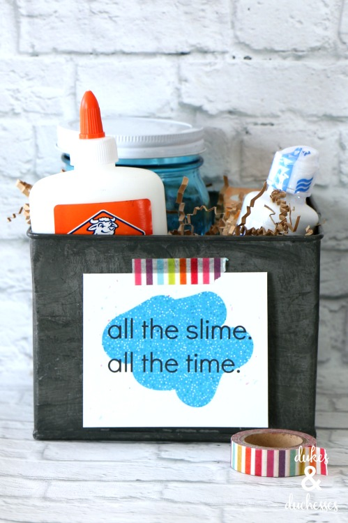 slime kit gift idea with printable tag