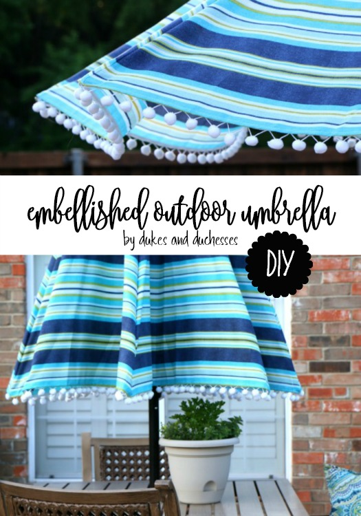 DIY embellished outdoor umbrella