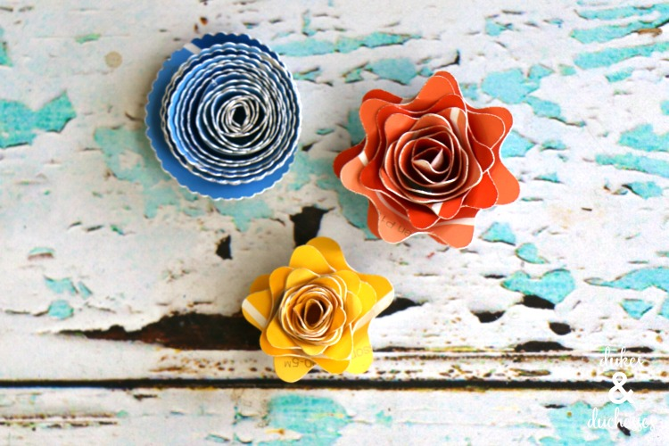 flower magnets made from paint swatches