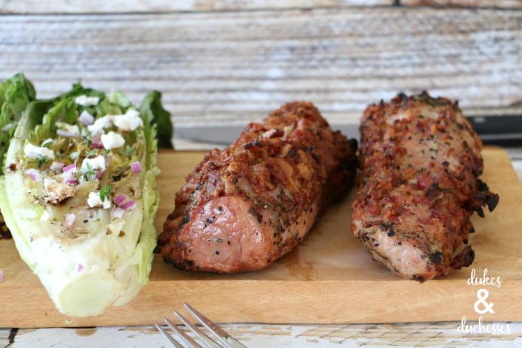grilled pork tenderloin and romaine salad