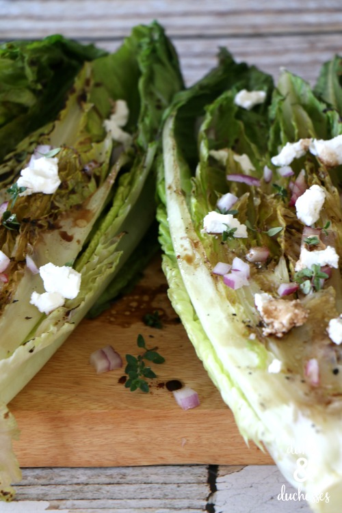 grilled romaine salad with goat cheese and red onion