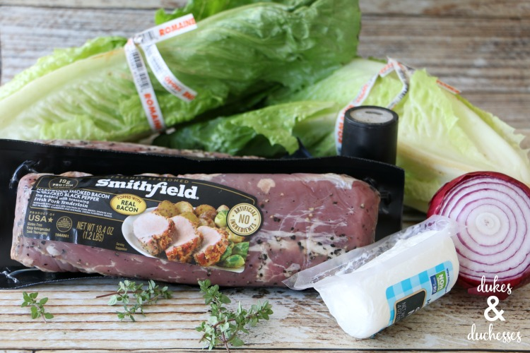 ingredients for grilled pork tenderloin with grilled romaine salad