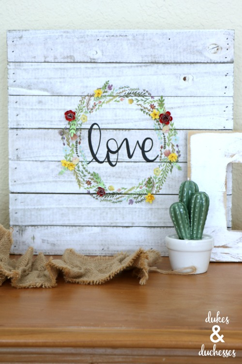 love wood sign made with heat transfer