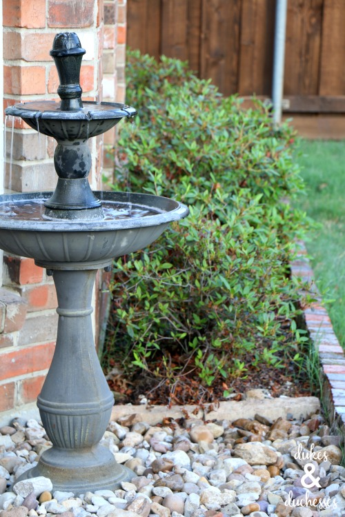 outdoor fountain in living space