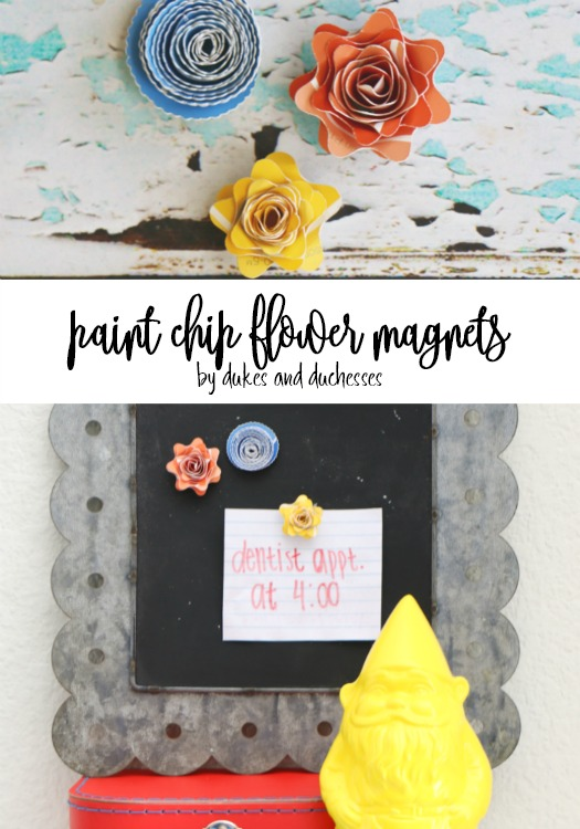 paint chip flower magnets