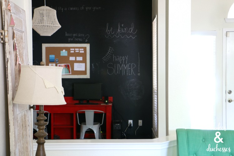 DIY chalkboard wall in home office