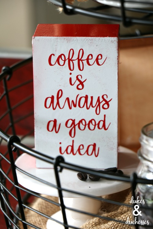 DIY coffee quote sign from dollar spot