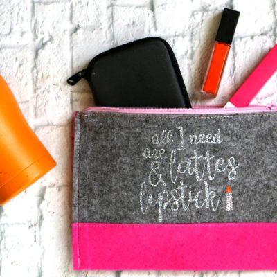Lattes and Lipstick Glitter Makeup Bag