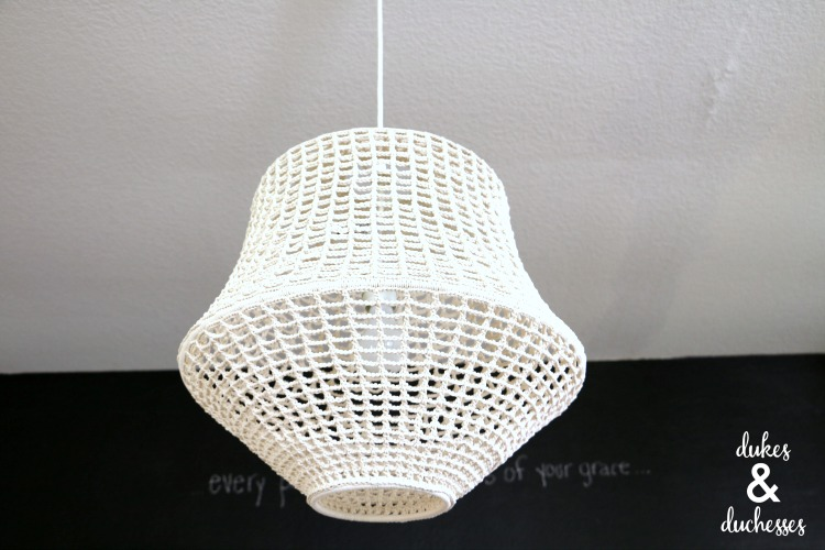 IKEA crocheted light fixture in home office
