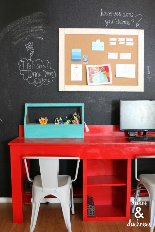chalkboard wall and colorful home office makeover