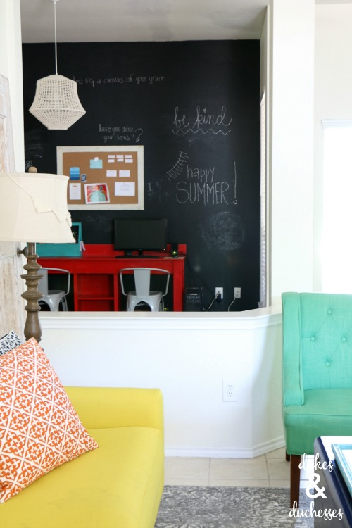 chalkboard wall makeover in home office