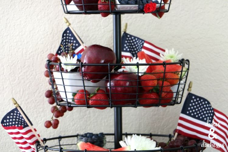 flag and fruit centerpiece for fourth of july