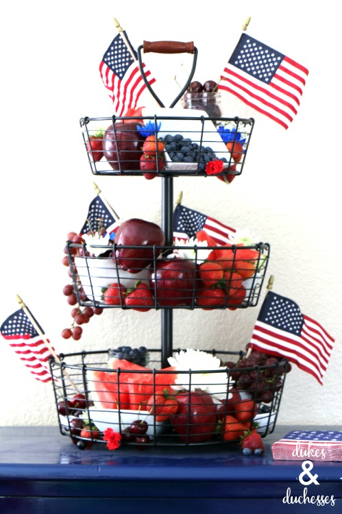 flag fruit and flower centerpiece