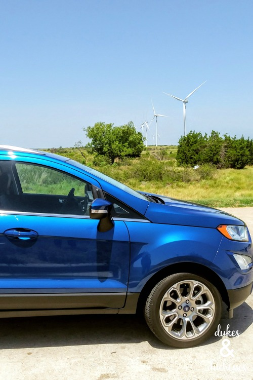 ford ecosport at windmills in oklahoma