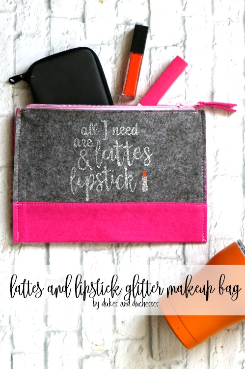 lattes and lipstick glitter makeup bag