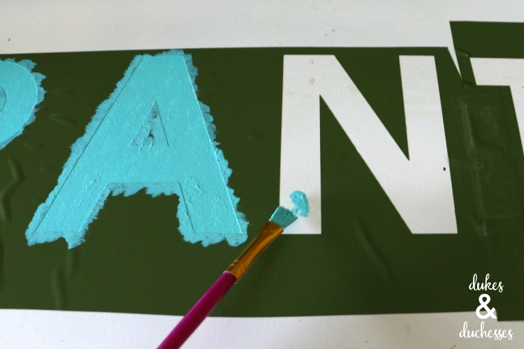 painted upcycled pantry sign