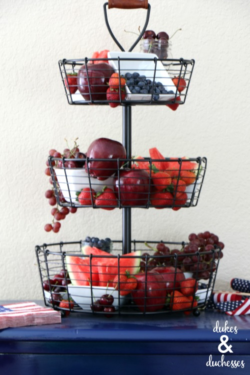 red white and blue centerpiece for fourth of july