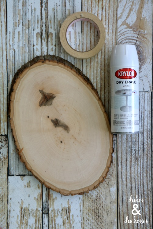 supplies for wood slice dry erase grocery list