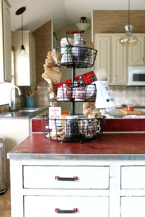 tiered tray on vintage kitchen island