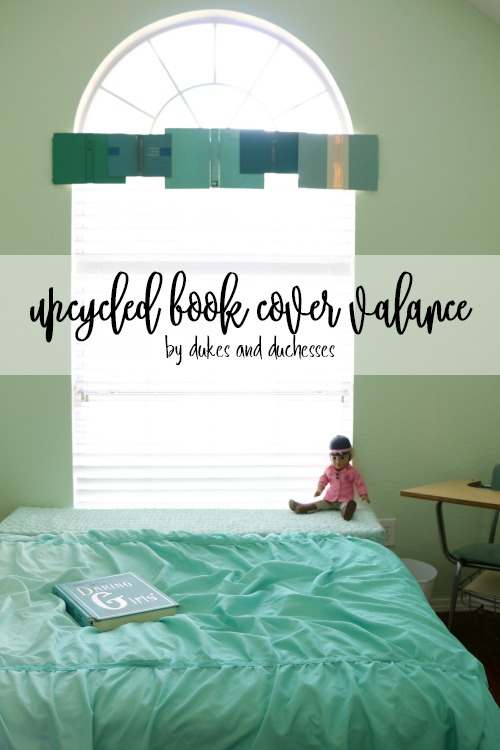 upcycled book cover valance