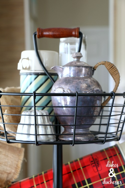 vintage coffee decor in tiered stand