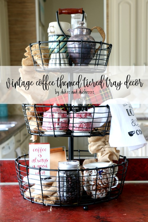 vintage coffee themed tiered tray decor