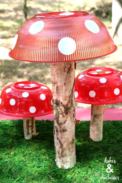 dollar store toadstool party centerpiece