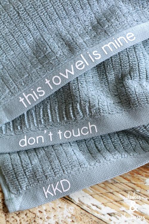 embellished towels for college