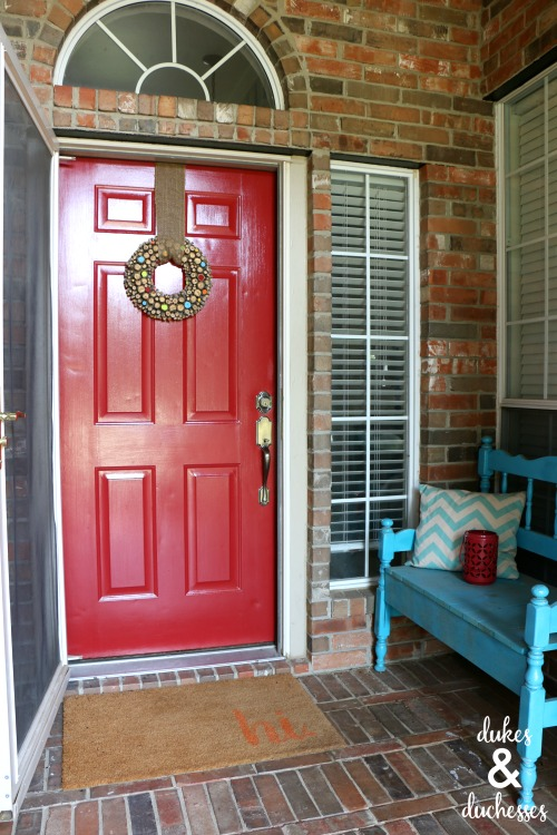 front porch makeover with painted door