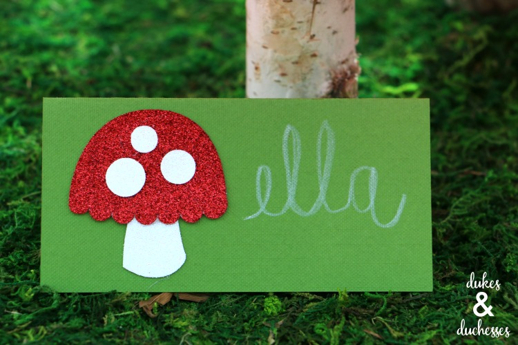 glitter toadstool placecard for party