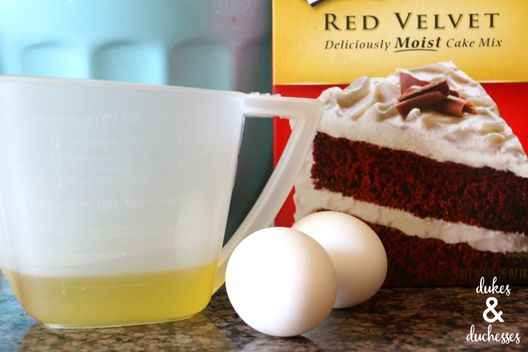 ingredients for red velvet cake mix cookies