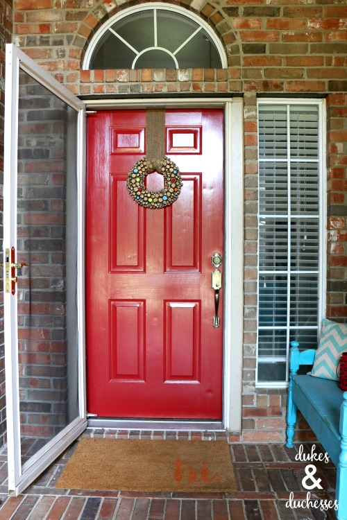 red front door with ppg paint