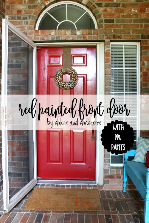 red painted front door with PPG paints