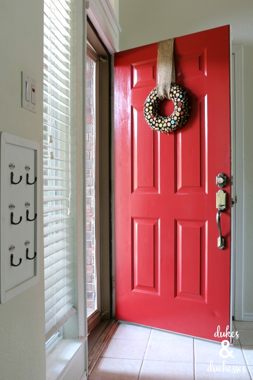 red painted front door