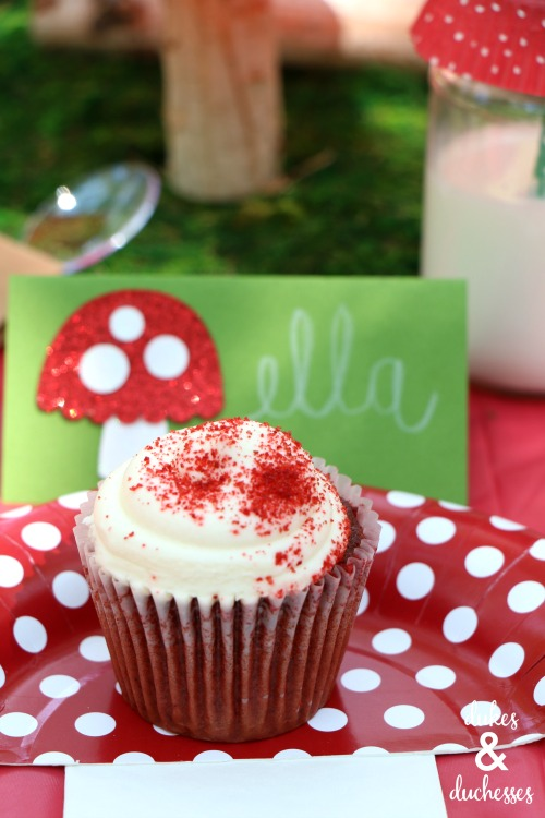 red velvet cupcakes at toadstool party