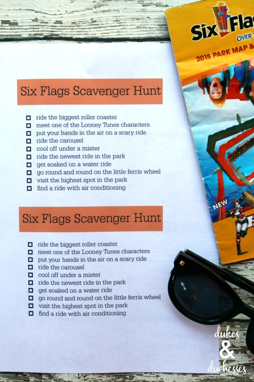 six flags printable scavenger hunt